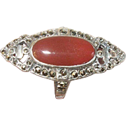 Art Deco Ring Sterling Carnelian Marcasite