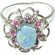 Vintage Ring Sterling Doublet Opal and Rubies