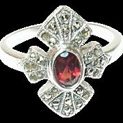 Vintage Ring Sterling Marcasite Garnet