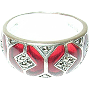 Vintage Ring Sterling Red Glass Marcasite