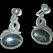 Vintage Earrings Sterling Hematite