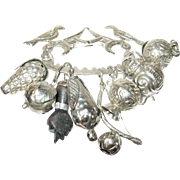 Vintage Brooch 8 Charm Coin Silver