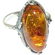 Vintage Ring Sterling Marquise Baltic Amber