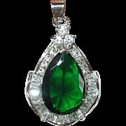 Vintage Pendant 18K Gold Filled Faux Diamond Faux Emerald