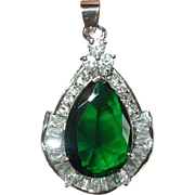 Vintage Pendant 18K Gold Filled Faux Diamond Faux Emerald