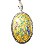 Vintage Pendant Locket Enamel Sterling