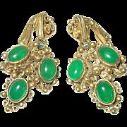 Vintage Earrings Florenza Green Stones
