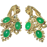 Vintage Earrings Florenza Green Stones