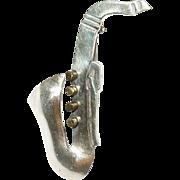 Vintage Brooch Sterling Saxophone