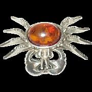 Vintage Brooch Sterling Crab Cabochon Amber