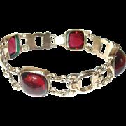 Vintage Link Bracelet Gold Filled Cabochon Stones