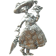 Vintage Brooch Sterling Whimsical Girl
