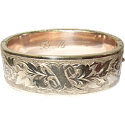 Victorian Hinged Bangle Gold Fill Hand Chased 1870