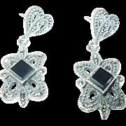 Vintage Earrings Sterling Marcasite Black Onyx
