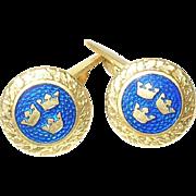 Vintage Cufflinks Blue Enamel