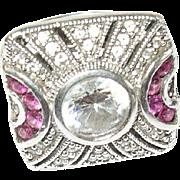 Art Deco Ring Ruby White Sapphire