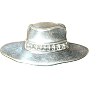 Vintage Lg Sterling Brooch Hat Design