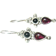 Vintage Sterling Earrings Garnet Black Onyx Drop