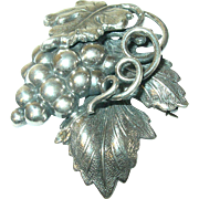 Vintage Brooch Sterling Grapes Vines