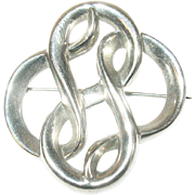 Vintage Sterling Brooch Modernist Design