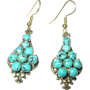Vintage Drop Earrings Faux Turquoise