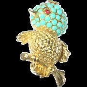 Vintage Brooch Faux Turquoise Bird Hallmarked