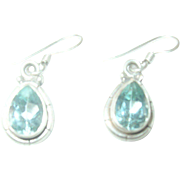 Vintage Earrings Sterling Topaz Drop