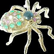 Vintage 14K Spider Brooch Rubies Emeralds Sapphire Diamond