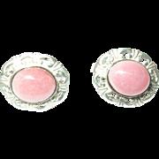 Vintage Earrings Sterling Natural Pink Stone