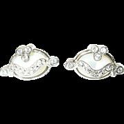 Vintage Earrings Mother of Pearl Faux Diamonds