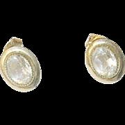 Vintage Earrings Gold Fill Faux Diamonds