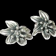 Vintage Earrings Sterling Flower Design