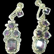 Vintage Drop Earrings Czechoslovakian Lavender Rhinestones