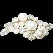 Vintage Brooch Rhinestones Faux Pearls