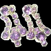 Vintage Chandelier Earrings Lavender Rhinestones