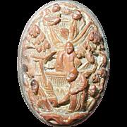 Antique Oriental Sterling Brooch Hand Carved Design