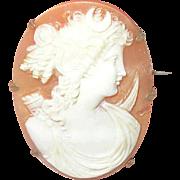 Antique 10K Brooch Shell Cameo