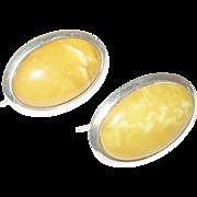 Vintage Sterling Amber Earrings Egg Yolk by DTR