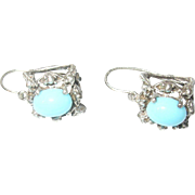Vintage Earrings Coin Silver 800 Turquoise