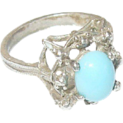 Vintage Ring Coin Silver 800 Turquoise