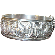 Vintage Coin Silver Hinged Bangle by Topazio