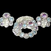 Vintage Aurora Borealis Earrings Brooch Set by Weiss