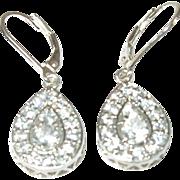 Vintage Sterling Drop Earrings Faux Diamonds
