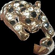 Vintage Ring Sterling Vermeil Leopard