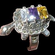 Vintage Ring Sterling Turtle Marcasite