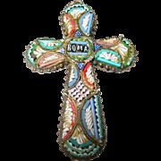 Vintage Brooch Pendant Micro Mosaic 1930's