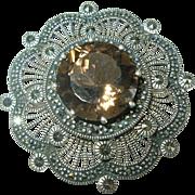 Vintage Sterling Msarcasite Brooch Pendant