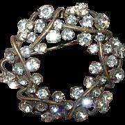 Vintage Brooch Austrailian Rhinestones Wreath Design