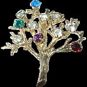Vintage Sterling Vermeil Brooch Family Tree