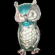 Vintage Brooch Owl Enamel Work